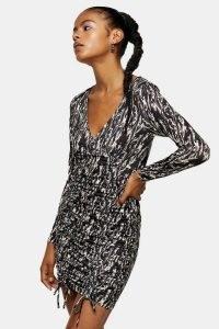 Topshop Animal Print Ruched Slinky Dress Monochrome