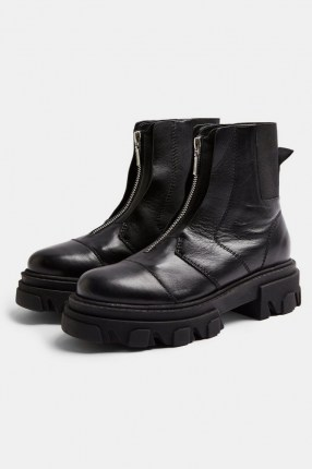 TOPSHOP ARCHIE Black Leather Chunky Zip Boots
