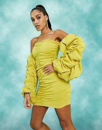 ASOS DESIGN extreme ruched bardot mini dress in chartreuse