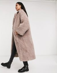 ASOS DESIGN faux fur hero longline maxi coat in mauve – fluffy winter coats