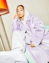 ASOS DESIGN longline bonded shearling shacket in lilac ~ longline shackets ~ celebrity inspired fashion