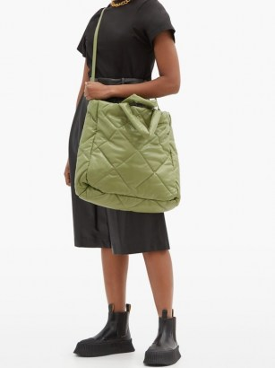 STAND STUDIO Assante quilted faux-leather tote bag / large green puffy bags - flipped