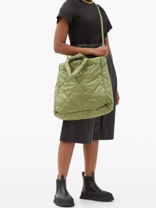 STAND STUDIO Assante quilted faux-leather tote bag / large green puffy bags