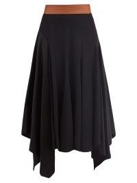 LOEWE Asymmetric leather-waist crepe skirt ~ asymmetrical hemline skirts