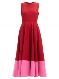 ROKSANDA Athena colour-blocked cotton-poplin dress ~ red and pink colour block fit and flare dresses