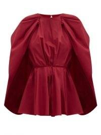 ROKSANDA Atticus cape-sleeve peplum cotton-poplin blouse – red statement blouses