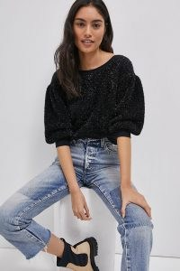 MAEVE Pamela Tinsel Shimmer Jumper | shimmering black jumpers | balloon sleeve metallic thread sweater