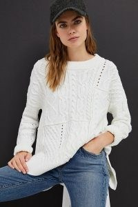 Pilcro Jasmine Cable-Knit Tunic Jumper | high low hem jumpers