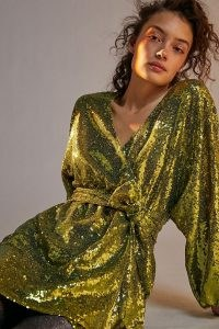 Anthro Label Lisabette Sequinned Mini Dress Chartreuse | sequin embellished wrap over dresses | party glamour