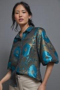 Eva Franco Sapphire Jacquard Blouse ~ rich jewel tone blouses ~ metallic detail clothing