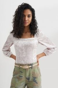 ANTHROPOLOGIE Jessima Velvet Top / square neck fitted tops