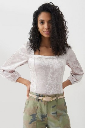 ANTHROPOLOGIE Jessima Velvet Top / square neck fitted tops - flipped