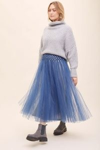 Geisha Designs Jade Tulle Midi Skirt Blue / floaty sheer overlay skirts / ballerina style fashion