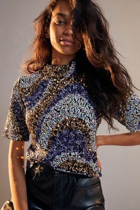 Maeve Maribella Sequinned Mock Neck Top / sequin covered short sleeve tops