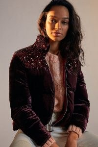 ANTHROPOLOGIE Fran Velvet Sequin Puffer Jacket Wine / luxe casual jackets / sequinned outerwear / rich winter colours