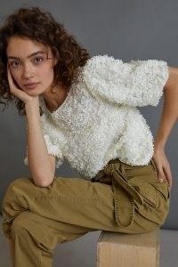 Maeve Presley Applique Blouse / textured puff sleeve blouses / feminine tops