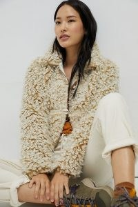 ANTHROPOLOGIE Brenna Faux Fur Coat / textured winter coats / casual luxe style jacket