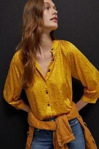 ANTHROPOLOGIE Susanna Burnout Velvet Buttondown Maize ~ yellow blouses