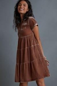 Anthro Label Tiered Mini Dress ~ brown velvet short sleeve dresses