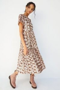 Maeve Sequin Tiered Midi Dress ~ pink sequinned dresses
