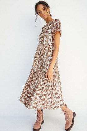 Maeve Sequin Tiered Midi Dress ~ pink sequinned dresses - flipped