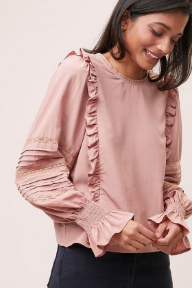 Meadows Ione Ruffled Blouse ~ pink frill trim blouses - flipped