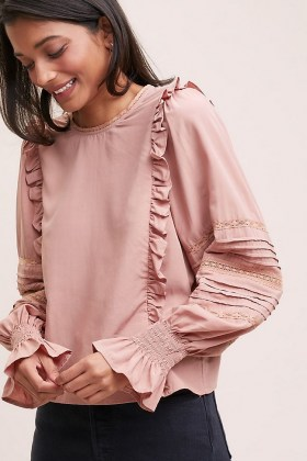 Meadows Ione Ruffled Blouse ~ pink frill trim blouses