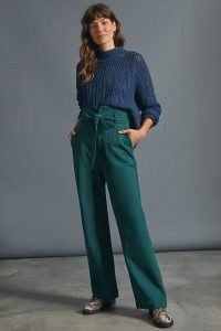 Maeve Corset Waist Trousers in Holly ~ green high tie waist pants
