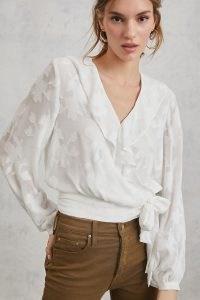 ANTHROPOLOGIE Milena Burnout Velvet Wrap Blouse – feminine blouses