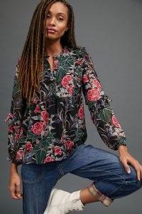 Daniel Rainn Aggie Floral Blouse – ruffle trim blouses