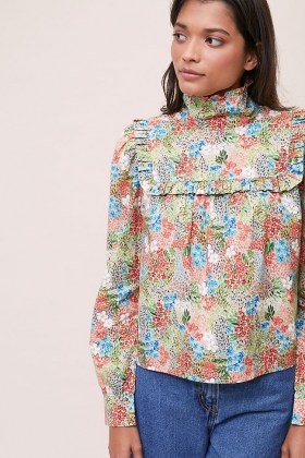 Meadows Heather Floral Blouse – ruffled high neck blouses - flipped