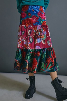 Farm Rio Drea Tiered Velvet Midi Skirt / mixed floral print dresses