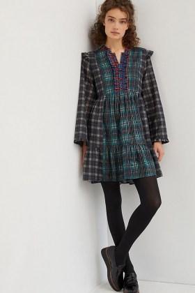 Dhruv Kapoor Ariana Ruffled Mini Dress / mixed checks / tartan dresses - flipped