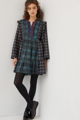 Dhruv Kapoor Ariana Ruffled Mini Dress / mixed checks / tartan dresses