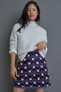 Maeve Mayfair Beaded Mini Skirt ~ blue floral embellished skirts