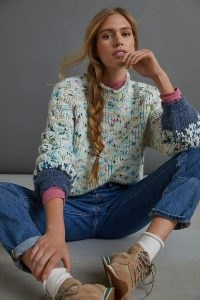 Anthropologie Gaia Multicoloured Jumper ~ high neck speckled jumpers