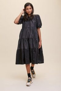 Second Female Tiered Midi Dress ~ black puff shoulder dresses with volume ~ party clothing