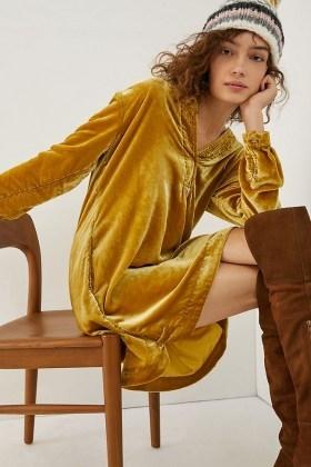 ANTHROPOLOGIE Melody Velvet Tunic Dress ~ soft feel dresses - flipped