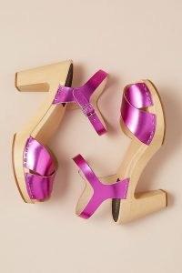 Swedish Hasbeens Merci Metallic Heels / shiny pink platform sandals