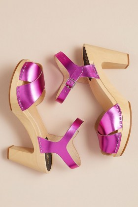 Swedish Hasbeens Merci Metallic Heels / shiny pink platform sandals - flipped