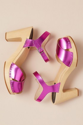 Swedish Hasbeens Merci Metallic Heels / shiny pink platform sandals