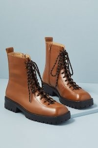 Miista Calais Square-Toe Hiker Boots / chocolate brown square toe lace up boots