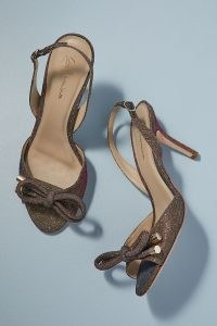 Grace Glittered Bow Heels / shimmering slingbacks / glittering party shoes