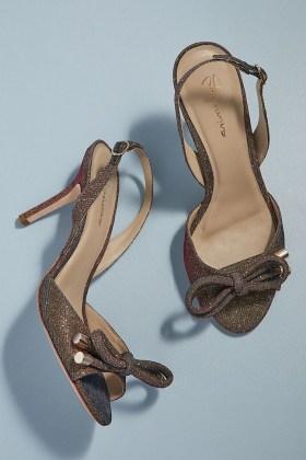 Grace Glittered Bow Heels / shimmering slingbacks / glittering party shoes - flipped
