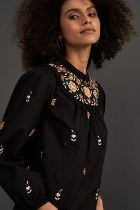 ANTHROPOLOGIE Elizabeth Cotton Embroidered Blouse / floral embroidery / frill neck blouses