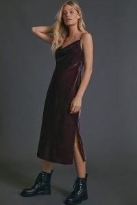 Anthropologie Scarlett Velvet Bias Dress in Chocolate ~ brown cowl neck slip dresses ~ draped neckline