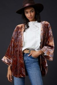 Anthropologie Esme Velvet Kimono Jacket – soft feel kimonos – lightweight luxe style jackets