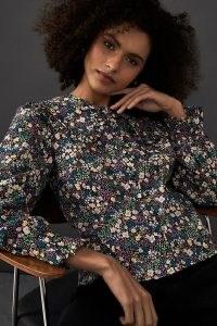 Anthropologie Floral Oversized Collar Shirt – frill trim shirts – large ruffled collars