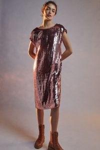 Maeve Kara Sequinned Mini Dress / pink sequin embellished shift dresses