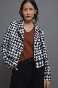 Anthropologie Waverly Houndstooth Moto Jacket Black and White / monochrome dogtooth jackets